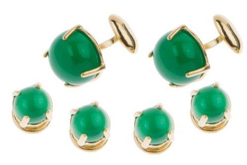 Tuxedo Set with Green Onyx Cabochon Stones