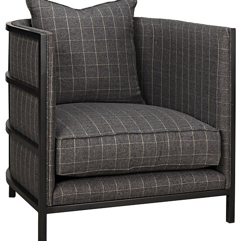 Gray Plaid Fabric Chair in Steel Frame