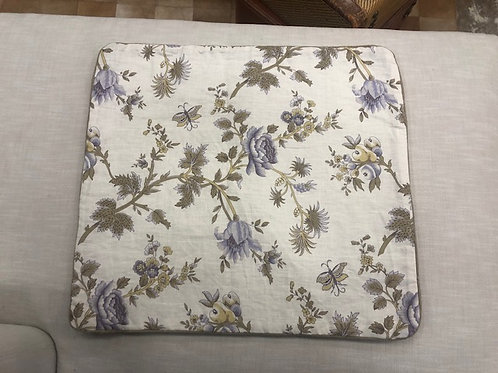 "Purple Flowers and Butterfly on  25"" x 27"" Cream Pillow with Quilted Back"