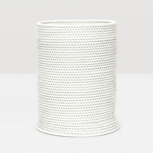 Round White Rattan Trashcan with Liner
