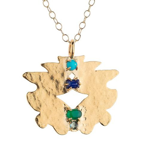 Medium Kleck with Turquoise, Sapphire, Green Onyx and Blue Topaz Necklace