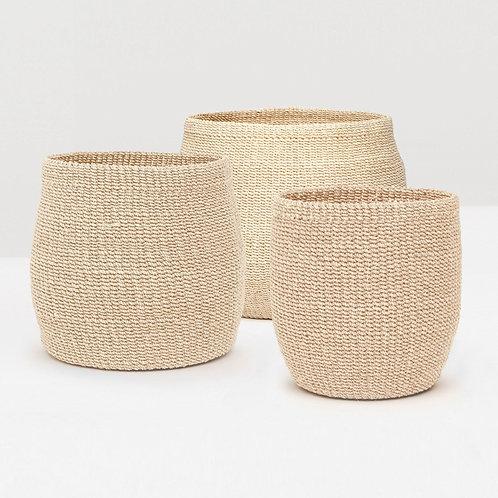 Set of Three Natural Abaca Fiber Baskets