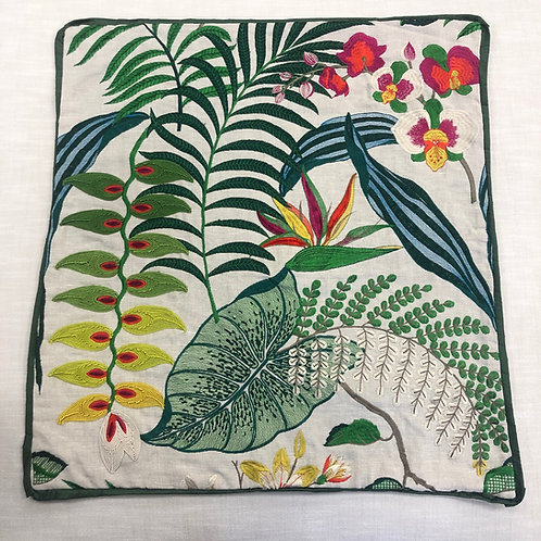 Colorful Leaf Embroidered Pillow with Insert