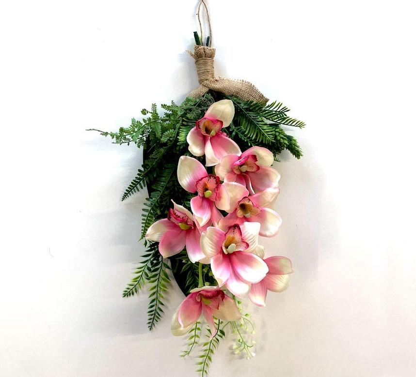 ピンクシンビジュウムナチュラルグリーン ハワイアンスワッグ.jpg
