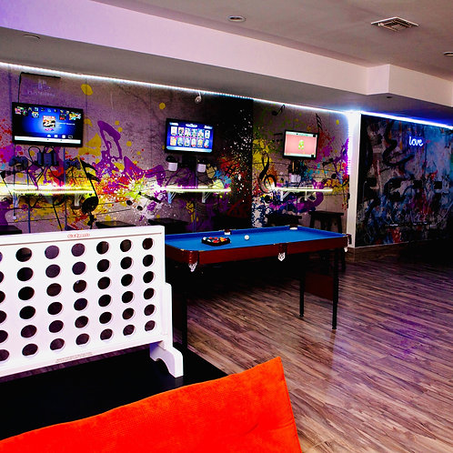 FUN ZONE Lounge ($100/hr + $100 cleaning fee downstairs)