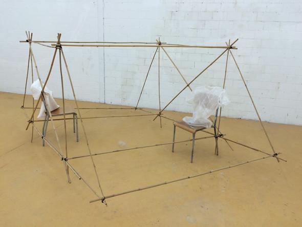 Installation mit Bambus Luftpolster- und