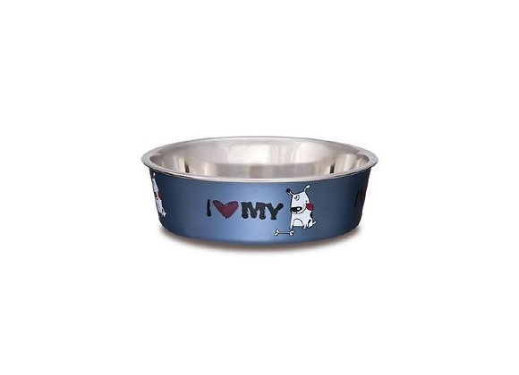 Loving Pets Bella Bowl I Love My Dog Steel Blue