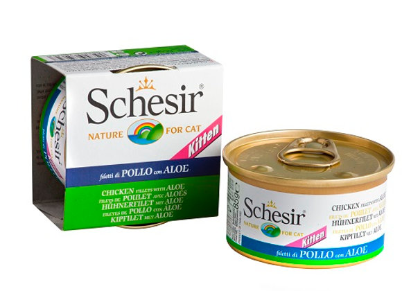 Schesir Chicken Fillet with Aloe in Jelly For Kittens Canned Cat Food 85g