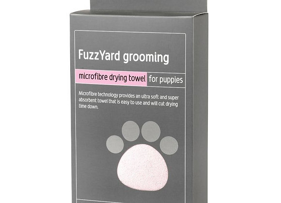 Fuzzyard Puppy Towel - Pink With Grey Trim, Microfibre Drying Towel
