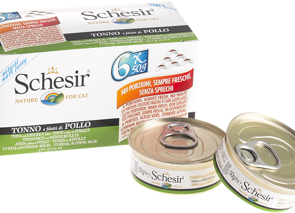 Schesir Tuna with Chicken Fillets in Natural Jelly Canned Cat Food 6 x 50g Multi