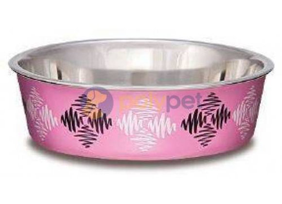 Loving Pets Bella Bowl Argyle Pink