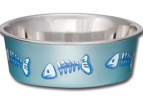 Loving Pets Bella Bowl Cat Metallic Fish Blue (For Cats)