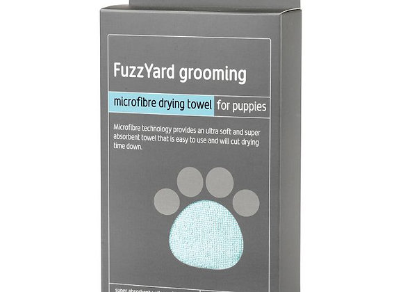 Fuzzyard Puppy Towel - Blue With Grey Trim, Microfibre Drying Towel