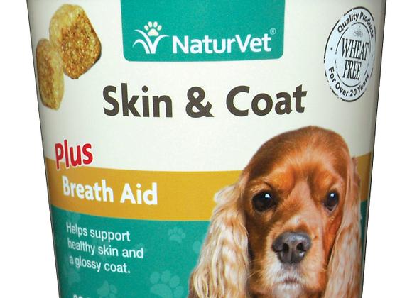 NaturVet Skin & Coat Plus Breath Aid Soft Chews - 70ct (30 Day Supply)