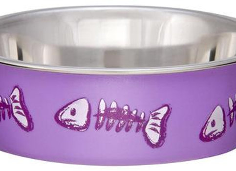 Loving Pets Bella Bowl Cat Metallic Fish Lilac  (For Cats)