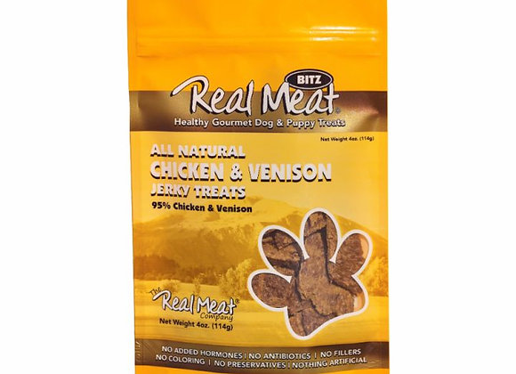 The Real Meat All Natural Chicken & Venison Recipe Jerky Dog Treats