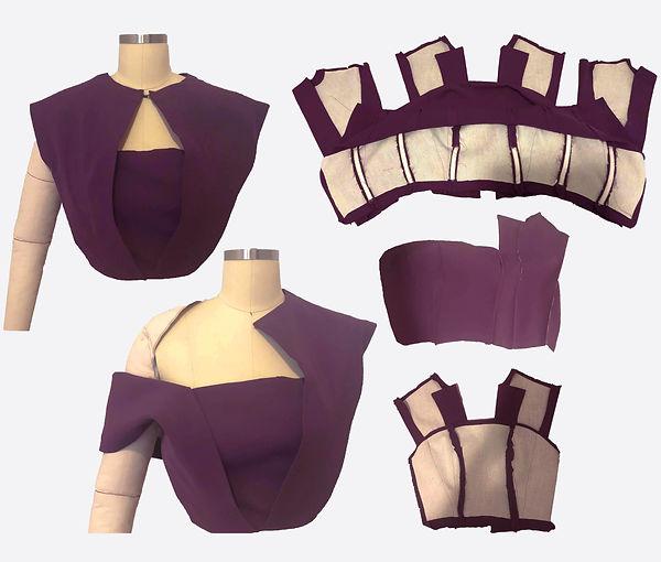 Purple Shoulder Top Sewing with Color Ba