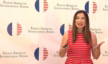 "Fundraising Ambassador, Johnna Wells highlights a ""Watch to Win"" raffle opportunity and modified live auction for the French American International School on May 29, 2020."