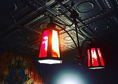 Loads of woman-power went into the installation of each and every ceiling tile featured in the bar area at GATHER for ever occaion! The perfect ambiant wrought iron light fixtures and boho-chic walls make this lounge perfect for every Portland celebration!