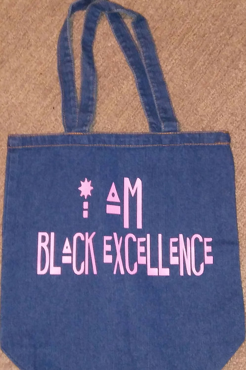 I am Black Excellence Denim Tote