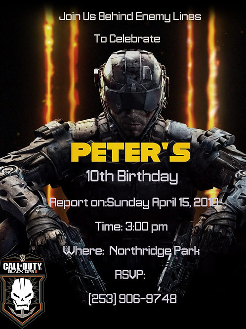 Call of Duty Black Ops Invitation