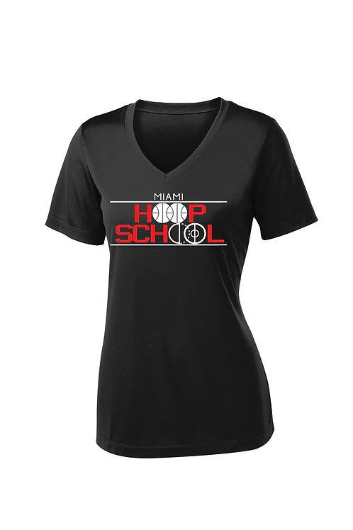 Women's Miami Hoop School Dry-fit V-neck Short Sleeve Shirt