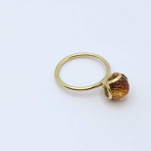 Encapsulated Raindrop Faceted Citrine Ring