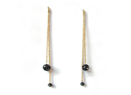 Encapsulated Raindrop Diamond Drop Earrings