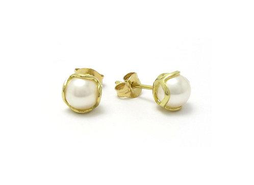Encapsulated Raindrop White Pearl Stud Earrings