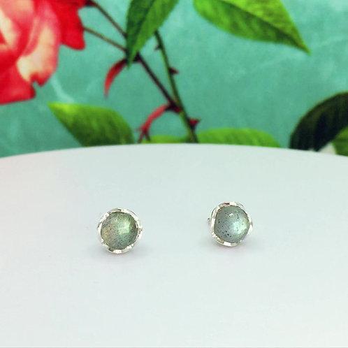 Encapsulated Raindrop Labradorite Stud Earrings