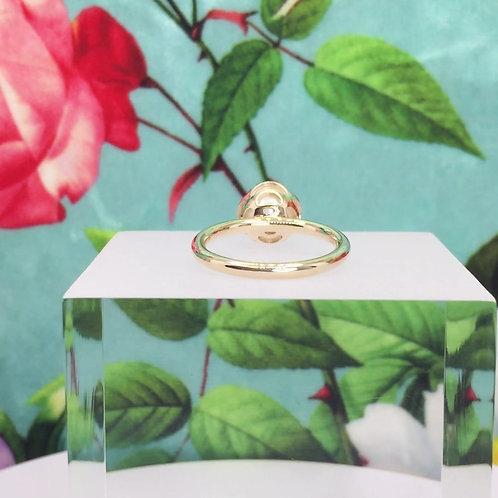 Encapsulated Raindrop White Pearl Ring
