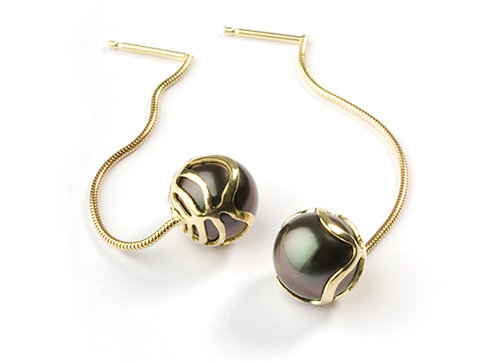 Encapsulated Raindrop & Tahitian Pearl Drop Earrings