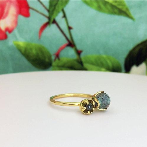 Atomic Beauty Black Diamond & Labradorite Ring