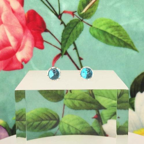 Encapsulated Raindrop Swiss Blue Topaz Stud Earrings