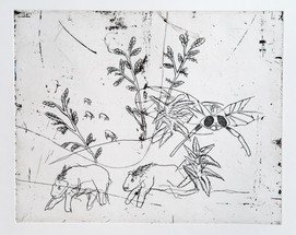 Landscape with horses and fly