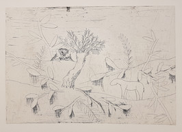 Landscape with bat and horse