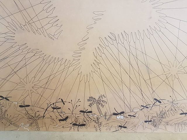 Pen on mdf, 1x3m woodcut in progress_#ar