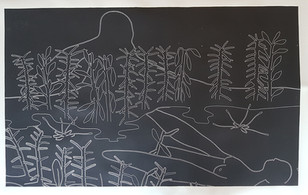 composition with plants and penguin woman