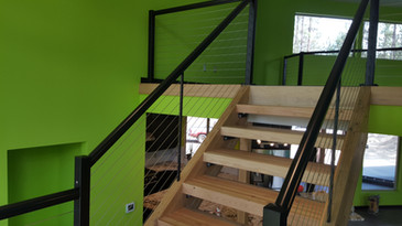 Inside cable rail in Seahawks themed cabin