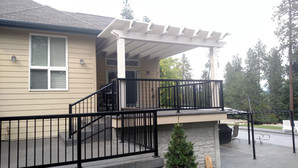 Patio railing down stairs to deck
