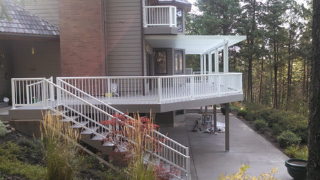 Picket rail around the deck and down the stairs