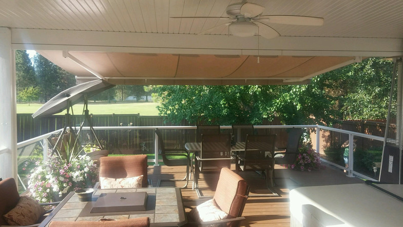 A Retractable extended out from patio cover