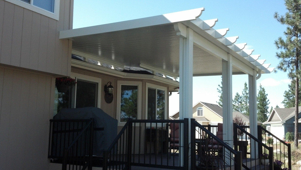 Newport Patio Cover, it has rafters and wrapped beams.