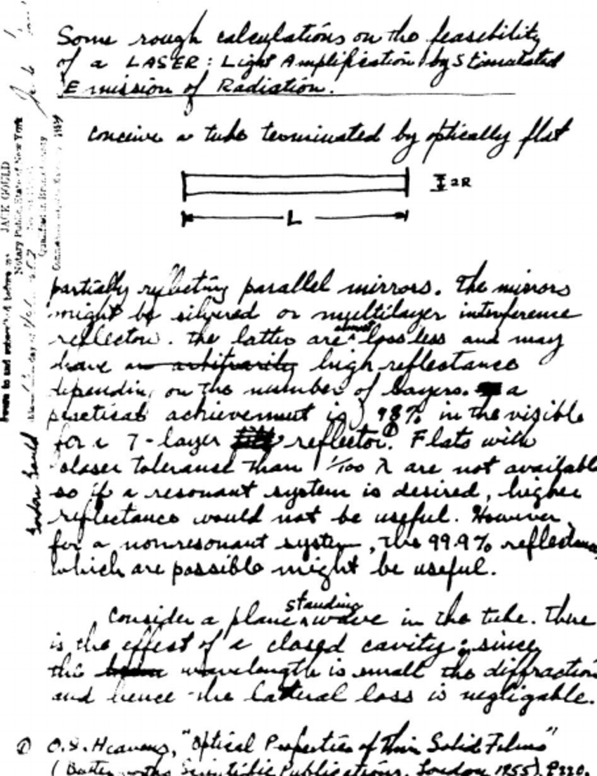 Notarized notebook page with first description of laser