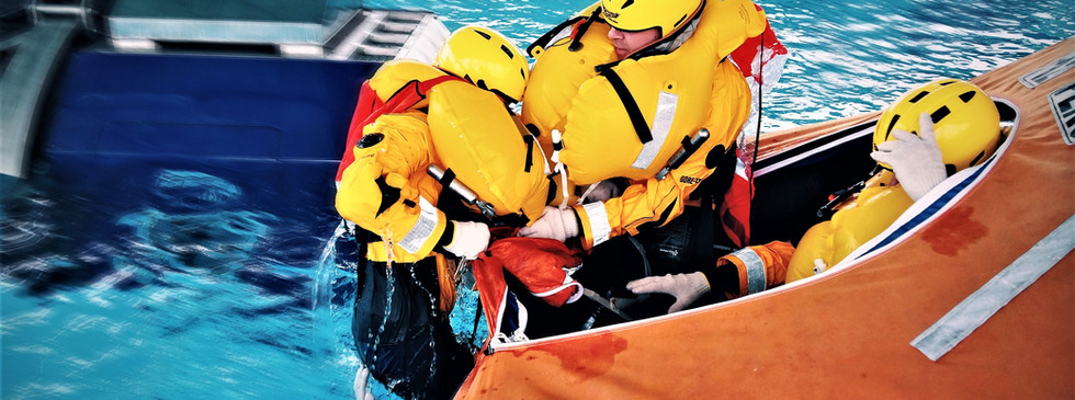Boarding a Marine Life Raft from the Water