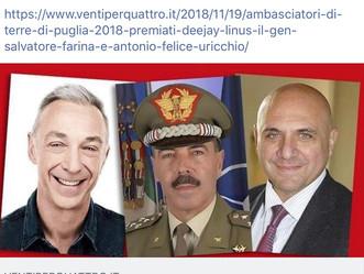 'Ambasciatori di terre di Puglia' 2018: premiati deejay Linus, il gen. Salvatore Farina e Antonio Fe