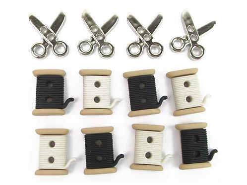 Sew Cute Spools/Scissors Button Pack