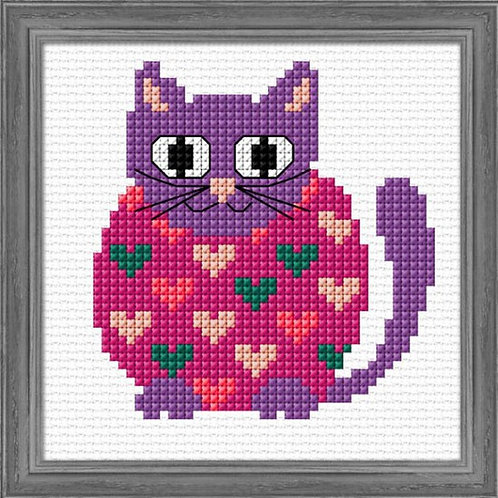 Hippie Kitty Counted Cross Stitch Kit