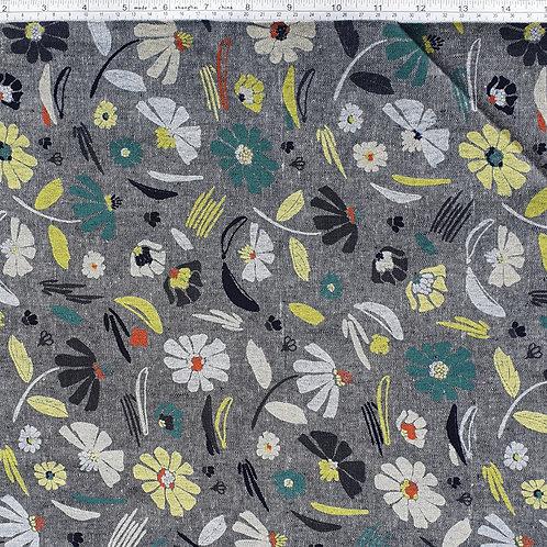 Kaufman Linen Forage - Indigo Flowers