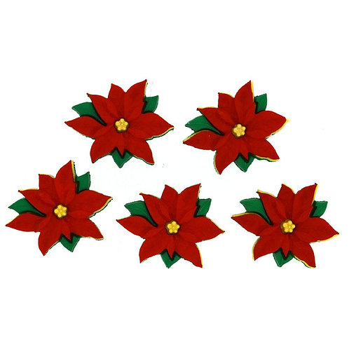 Red Poinsettias Button Pack